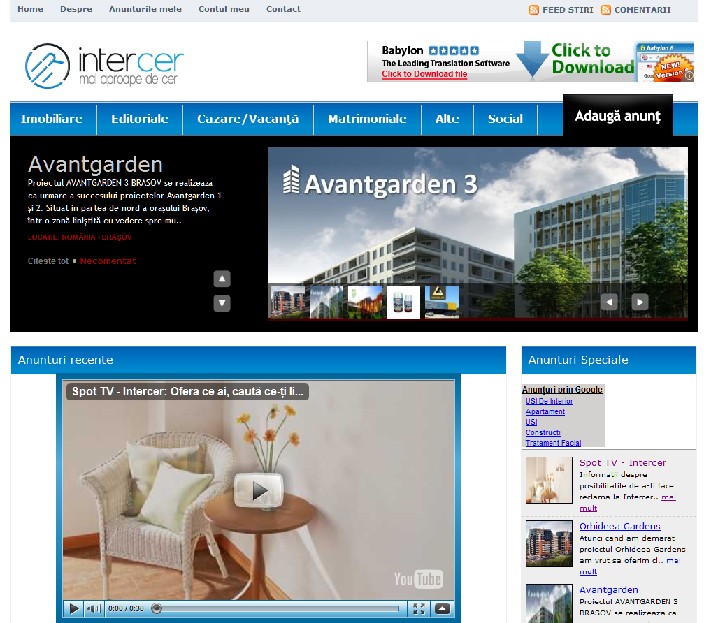 Noul site Intercer cu anunturi de mica publicitate si reclame – adserv.intercer.net