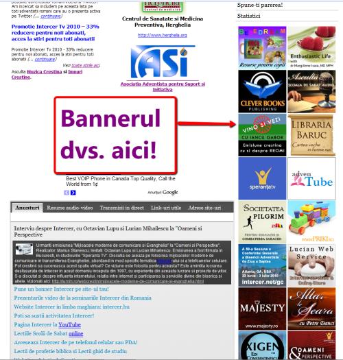 Promotie banner 140×125 pe pagina principala la Intercer