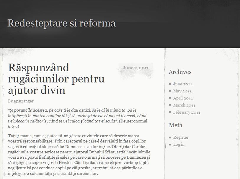 "Un nou website: ""Redesteptare si reforma"""