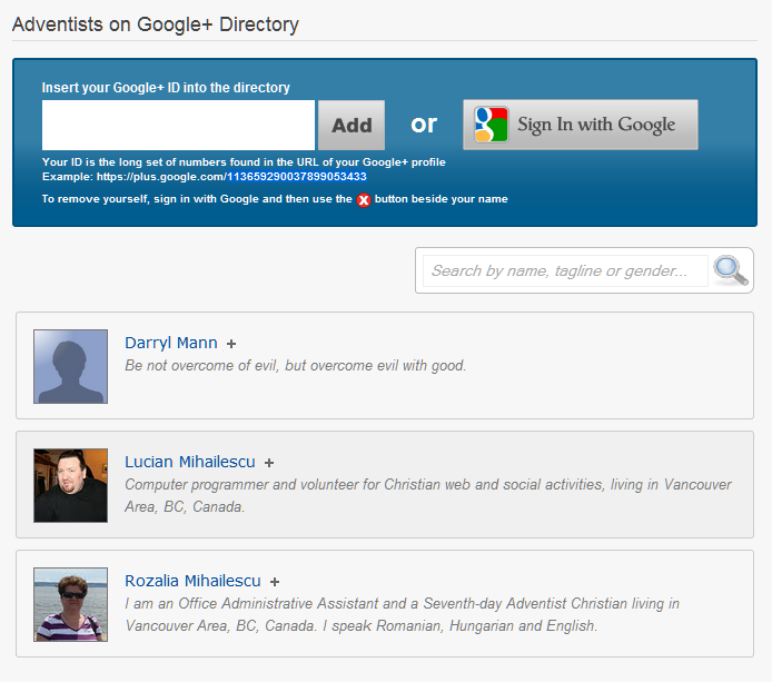 Adventists on Google+ Directory – Add yourself today!