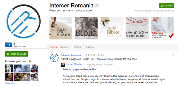 Adventist pages on Google Plus