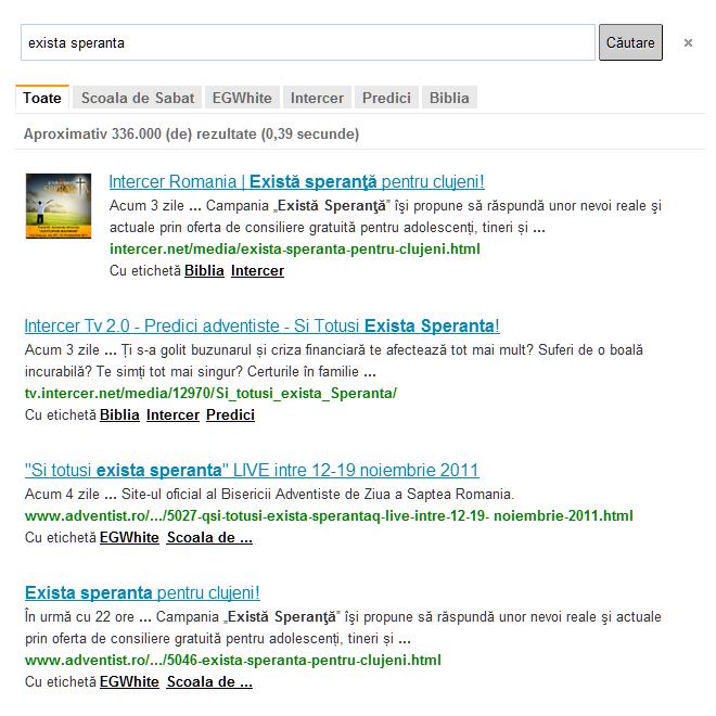 Adauga motorul de cautare pentru site-uri adventiste pe site-ul tau
