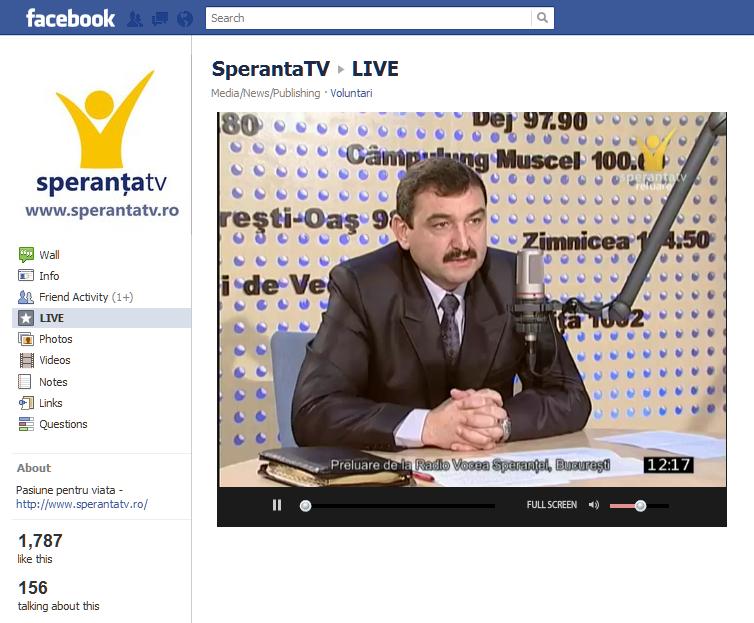 Premiera in Romania: SperantaTV transmite pe Facebook