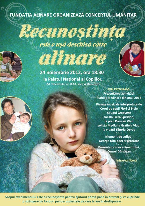 Fundatia Alinare – Concert Umanitar, 24 Noiembrie 2012, ora 18,30