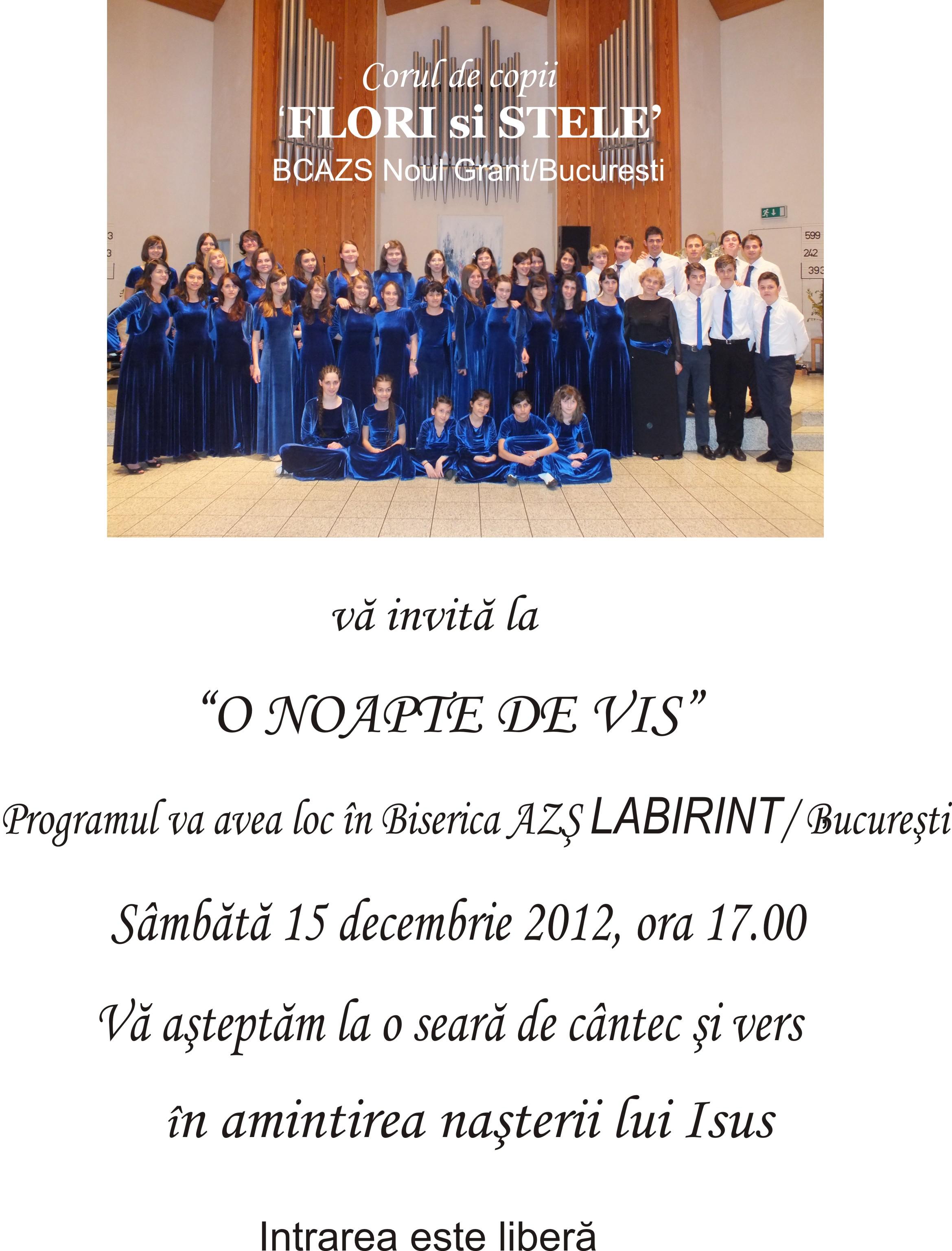 """Concert """"Flori si Stele"""" 15 Decembrie – AZS Labirint (Bucuresti)"""