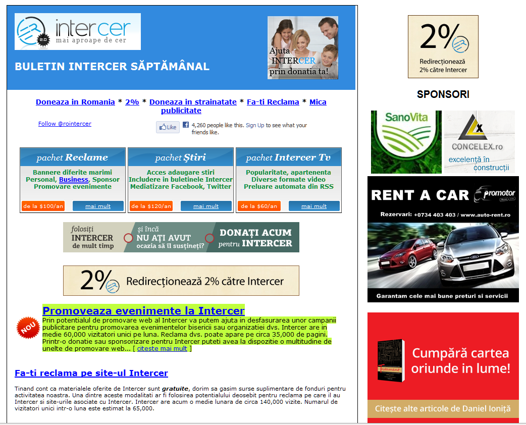 Buletinul Intercer saptamanal pe email – informatii importante