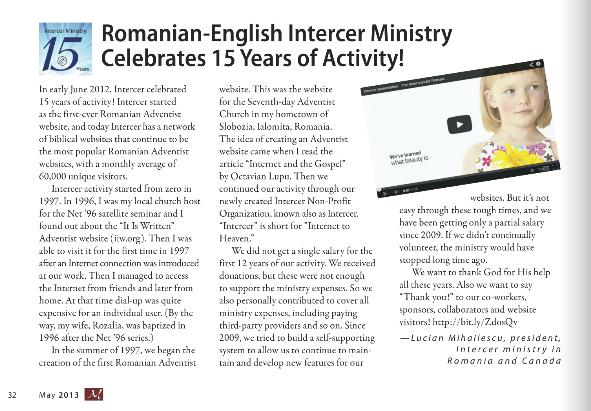 Articol despre Intercer in Curierul Adventist Canadian